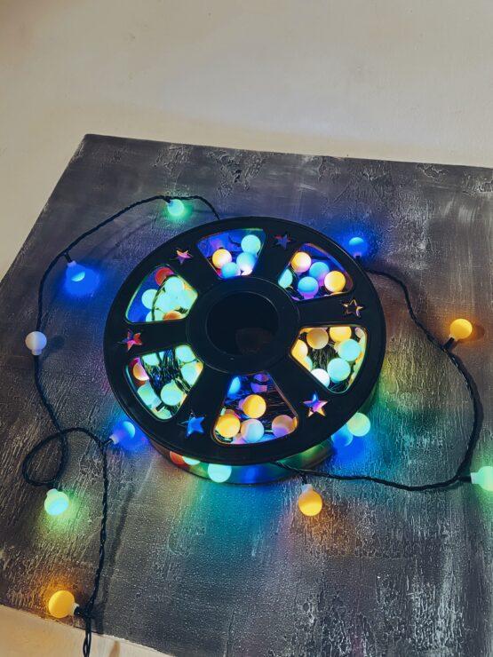 Гирлянда «Катушка-Шарики» 50 метров, Разноцветные