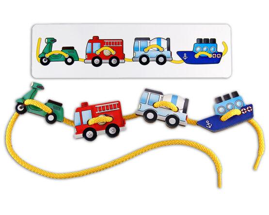 "Шнуровка ""Транспорт-2"" - игрушка из дерева"